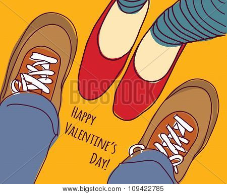 Valentines greeting card young man and woman