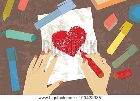 Woman hands love letter drawing heart