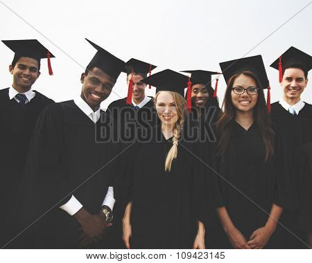 Group Students Happiness Graduation Concept