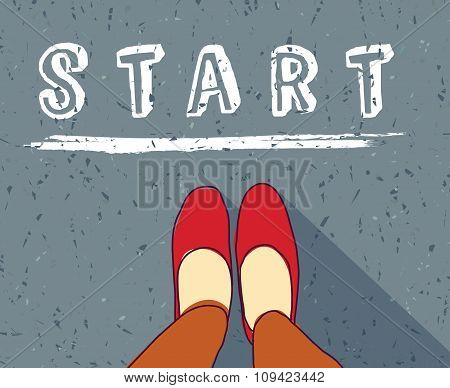 Young woman begin way start line new life