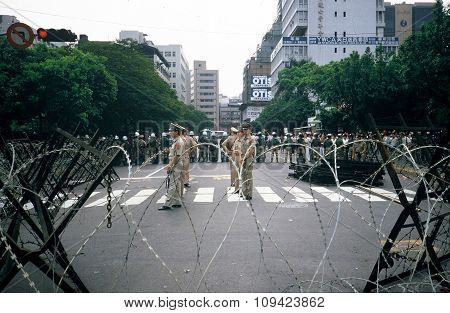 Soldiers at a DPP Rally