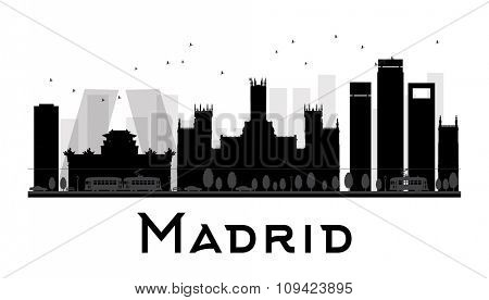 Madrid City skyline black and white silhouette Vector illustration. Simple flat concept for tourism presentation, banner, placard or web site. Business travel concept. Cityscape with famous landmarks