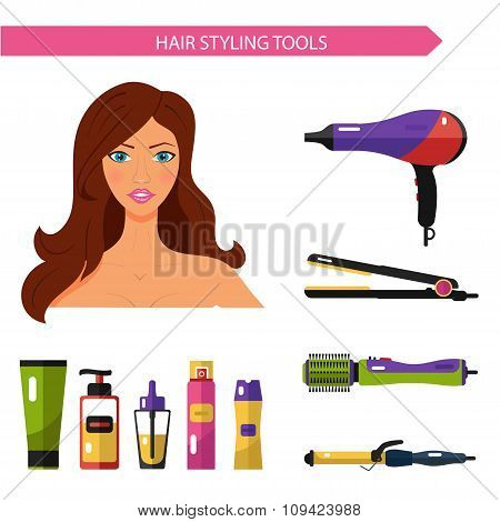 Flat vector cosmetics icons set of hair styling tools