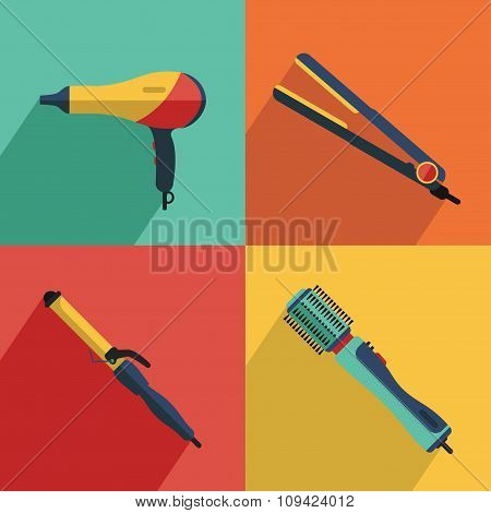 Icons set of hair styling tools