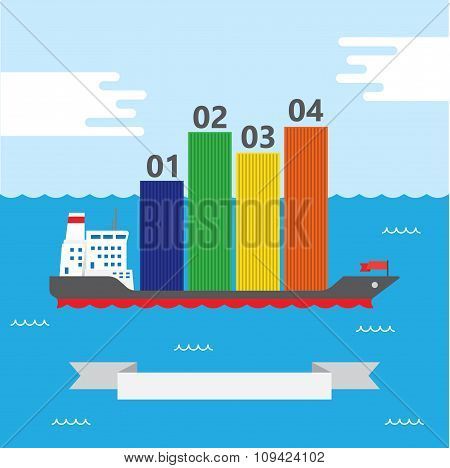 Container Ship Infographic - Illustration