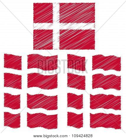 Flat And Waving Hand Draw Sketch Flag Of Denmark