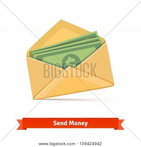 Some dollar bills in yellow paper envelope