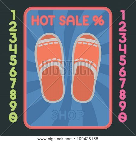 Slippers Shoes Flat Design Icon. Vector Hot Sale Label.