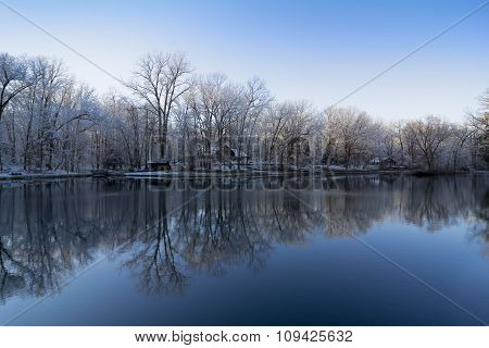 Snowy Winter Lake Reflections