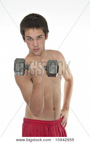 Teenager Holding Dumbell