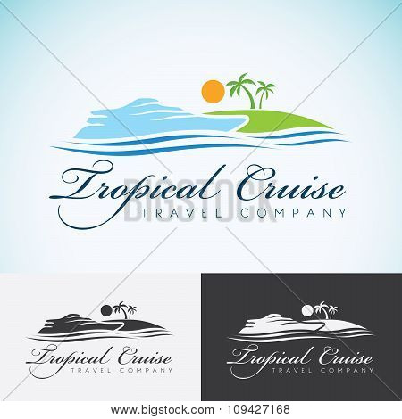 Yacht, Palm Trees And Sun, Travel Company Logo Design Template. Sea Cruise, Tropical Island Or Vacat