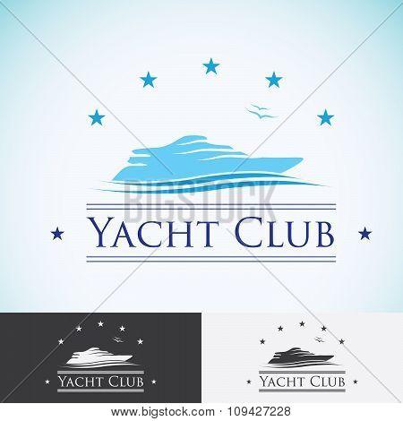 Yacht Club, Logo Design Template. Sea Cruise, Tropical Island Or Vacation Logotype Icon