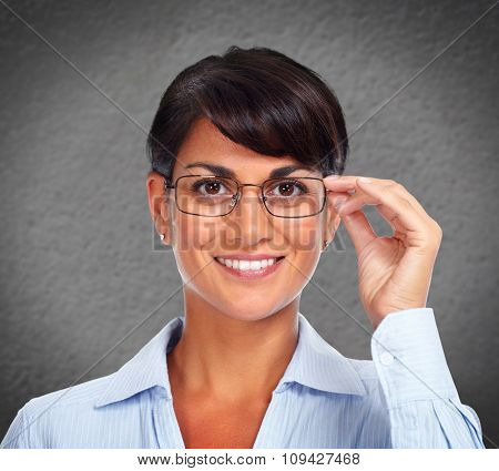 Beautiful young business woman over abstract background.