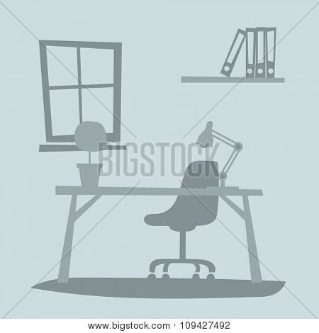 Business office interior with table, chair, computer. Business office vector illustration. Office interior vector illustration. Business office interior table. Business office interior computer