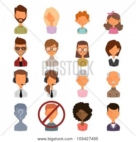 Set of people portrait face icons web avatars flat style. Vector women, men, kids avatars face. Avatar blocked, avatar unknown, anonymous avatar silhouette. Business man, woman avatars icons. Avatar