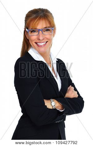 Beautiful smiling business woman. Banking and financial concept.