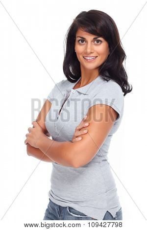 Beautiful asian woman isolated over white background.