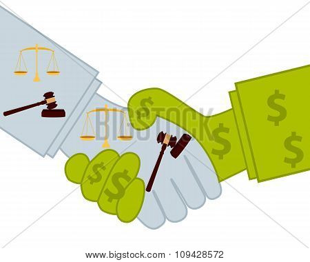 Judicial bribery. Good deal. Business concept. Vector illustration