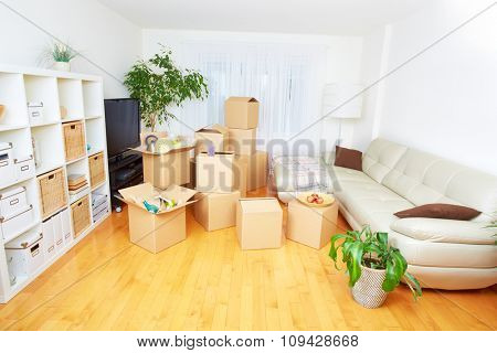 Moving boxes in new apartment. Real estate concept.