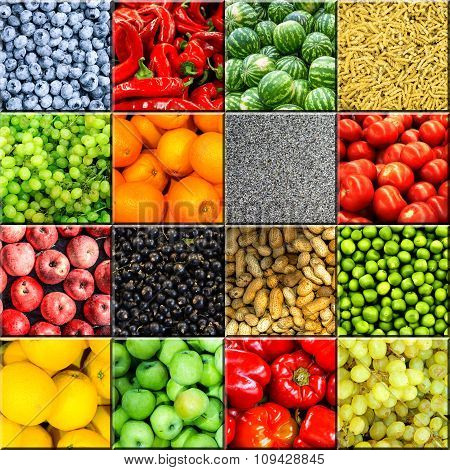 Mix Collage Of 16 In 1 Food Background Divided By 3D Effect: Tomatoes, Blueberry, Apples, Pasta, Pea
