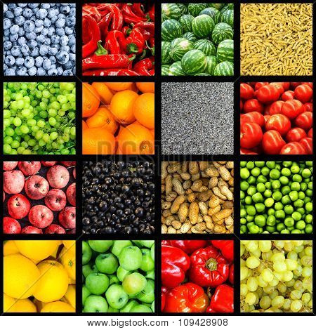 Mix Collage Of 16 In 1 Food Background Divided By Black Frame: Tomatoes, Blueberry, Apples, Pasta, P