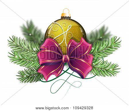 Yellow Christmas Ball With Bow