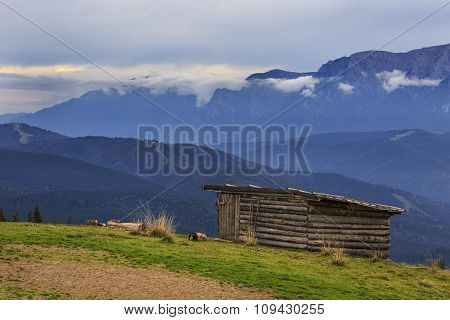 Mountain landscape with sheperd cottage
