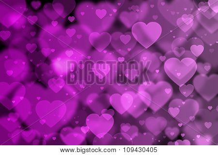 Pink Hearts Background With Bokeh Effect