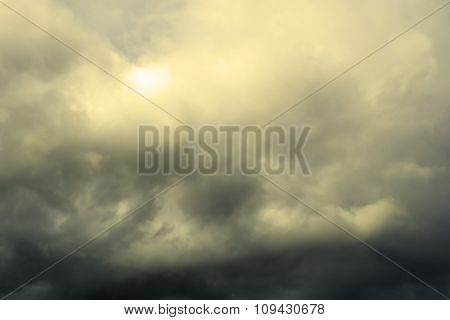 Clouds On The Blue Sky Before The Storm Warm Filtered