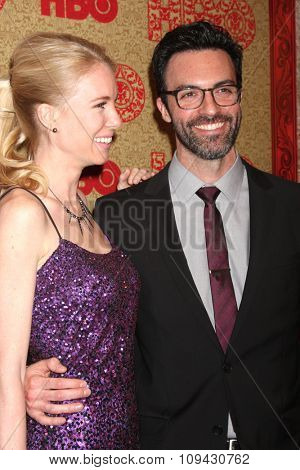 LOS ANGELES - JAN 12:  Elspeth Keller, Reid Scott at the HBO 2014 Golden Globe Party at the Beverly Hilton Hotel on January 12, 2014 in Beverly Hills, CA