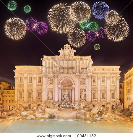 Beautiful fireworks under Trevi Fountain Rome, Italy