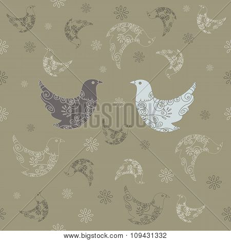 Retro-style pattern with doves. Wrapping paper. Seamless vector