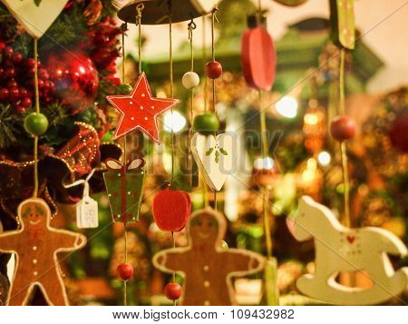 Christmas decorations in the window