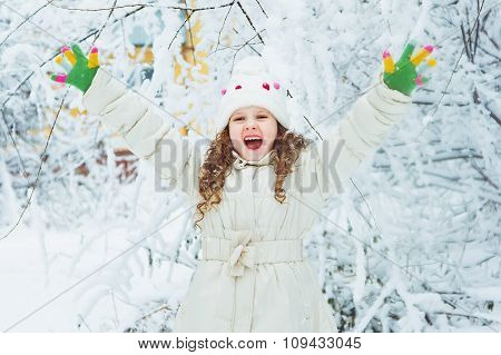 Laughing Girl In Winter Park.