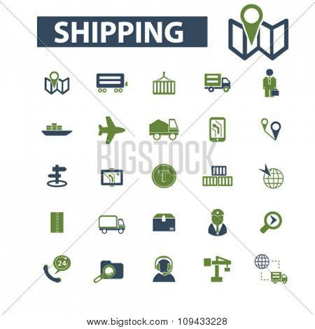 shipping, delivery, logistics  icons, signs vector concept set for infographics, mobile, website, application