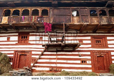 Typical wooden house in old Manali, India.
