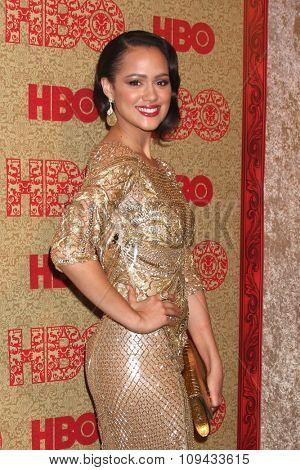 LOS ANGELES - JAN 12:  Nathalie Emmanuel at the HBO 2014 Golden Globe Party at the Beverly Hilton Hotel on January 12, 2014 in Beverly Hills, CA