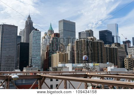 View Of Skyscrapers From Brooklyn Bridge, Downtown, New York.