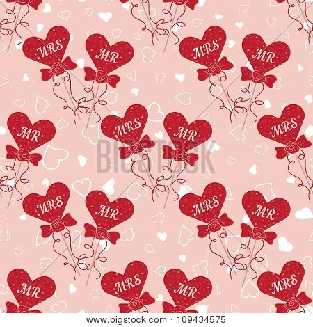 Wedding seamless pattern with hearts MR and MRS on a stick