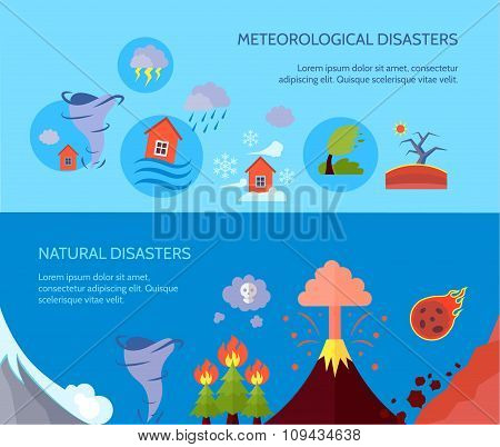 Natural disaster 2 flat banners composition