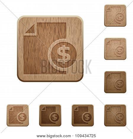 Money Report Wooden Buttons