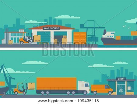 Logistic concept flat banner production process from factory to the shop