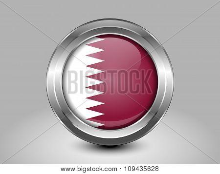 Flag Of Qatar. Metal Round Icon