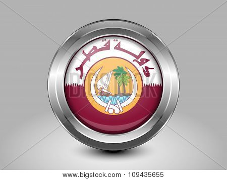 Qatar Coat Of Arms. Metal Round Icon