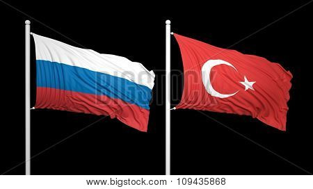 Turkish and Russian flags against of black background. Isolated