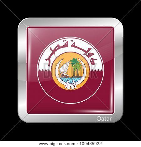 Qatar Coat Of Arms. Metallic Icon Square Shape