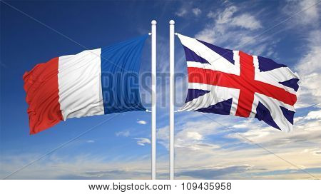 French and British flags waving  against of sky