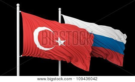 Turkish and Russian flags waving against of black background
