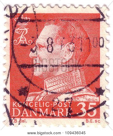 Denmark - Circa 1964: Postage Stamp Printed In Denmark Shows Portrait Of King Frederick Ix