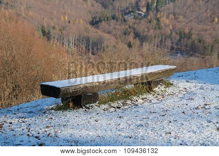 bench in winter nature